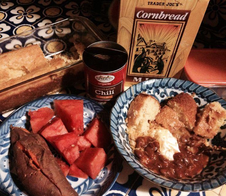 Baked yam (organic), watermelon (organic), canned vegetarian chile, baked cornbread