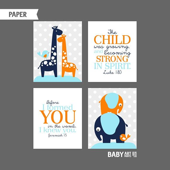 Orange Blue Navy Boy Nursery art prints Elephant Giraffe