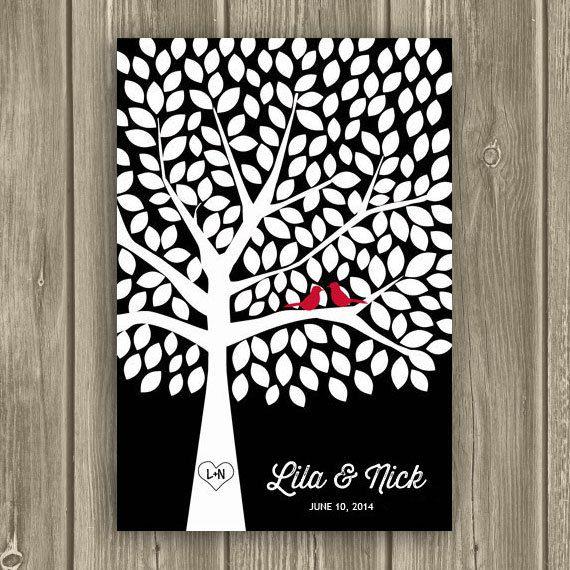 Wedding Guest Book Poster Guestbook Tree by MooseberryPrintShop