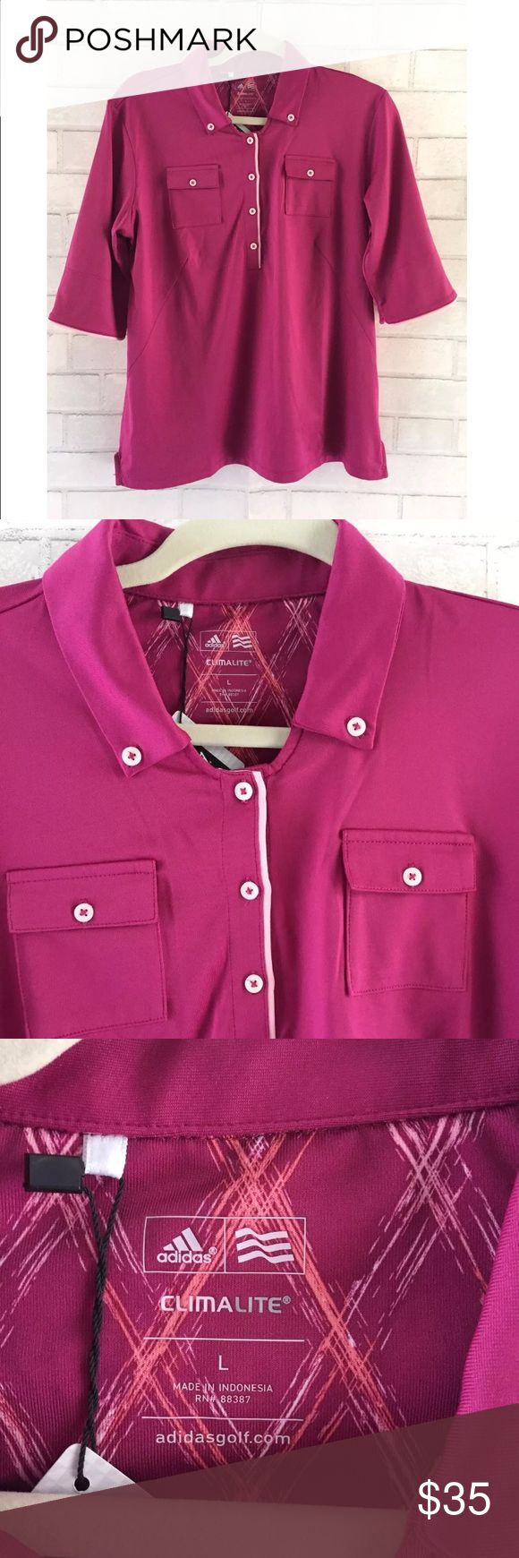 [Adidas] Climalite Golf Half Button Up Top NWT Adidas Climalite Women's Golf Top, Size Large. This top is in a beautiful berry and blush color featured as a half button up with two pockets. The Climalite feature of the top is a highly breathable fabrication that wicks moisture away from the skin for quick evaporation. The top is also fitted with LYCRA fiber for clothes that help you look and feel great. 95% Polyester - 5% Spandex. New With Tags! Color variation depends on screen and…