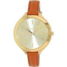 Michael Kors Slim Runway Orange Leather Ladies Watch MK2275