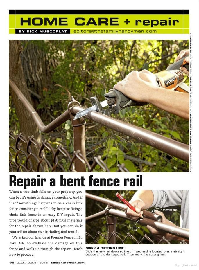 how to fix a chain link fence