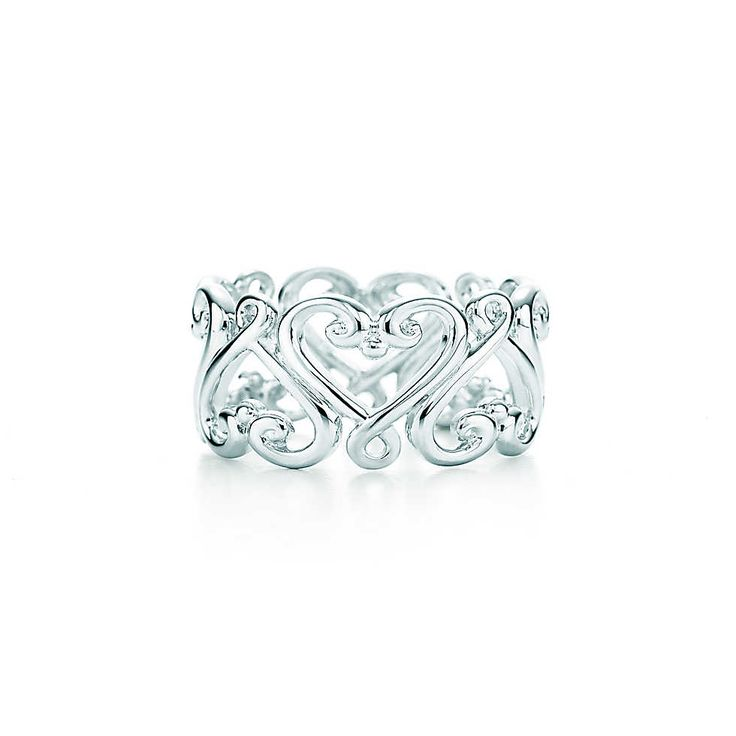 Beautiful. Paloma's Venezia Goldoni heart band ring in sterling silver. | Tiffany & Co.