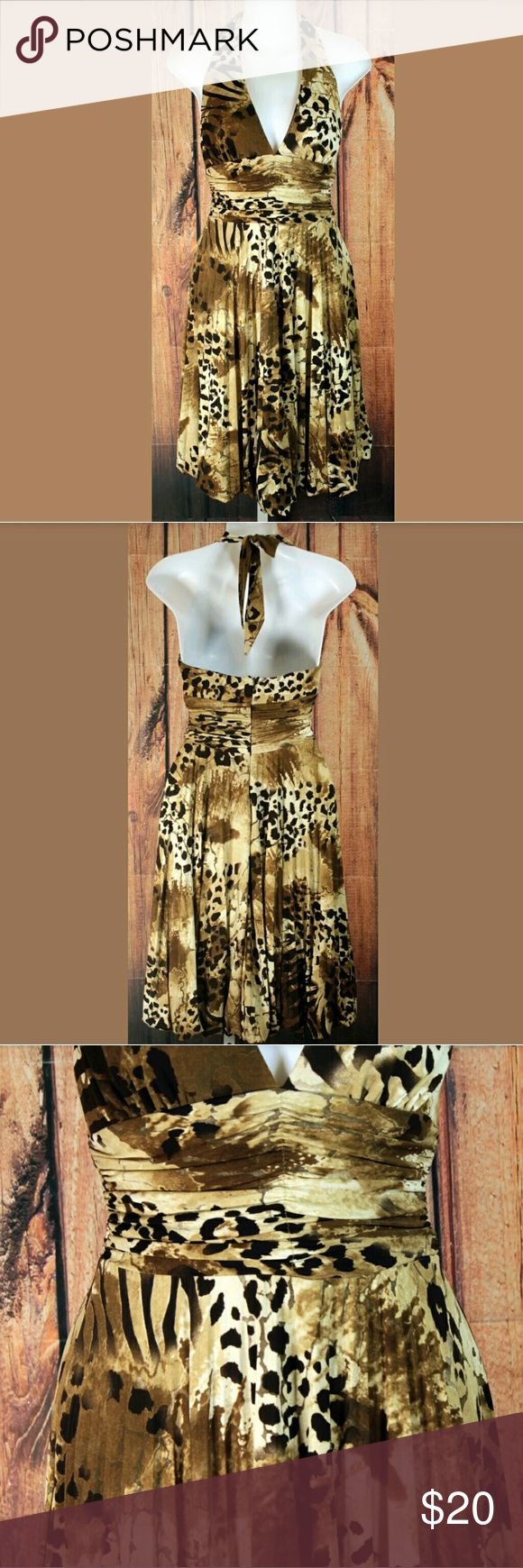 "Cache Pleated Halter Dress Size 4 Animal Print Cache Halter Dress Womens Size 4 Pleated Animal Print Style 3961 Condition: Great Pre-Owned Condition from Clean Pet/Smoke free home.  Measurements: Length: 40"" Bust (Pit to Pit): 12.5"" Cache Dresses"