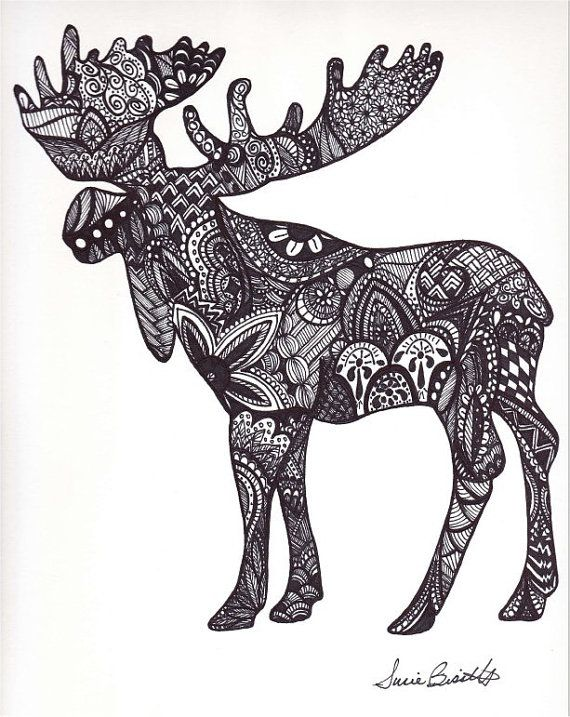 Print of a Hand-drawn zentangle bull moose