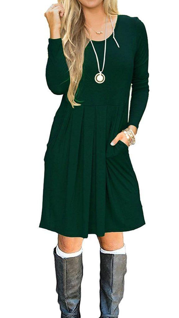 5eaeaf0cd9 JOSIFER Women s Long Sleeve Pleated Loose Swing Casual T-Shirt Dress With  Pockets