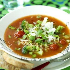 Grønsagssuppe med parmesan