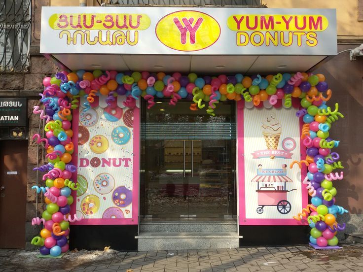 Yum Yum Donuts New Branch Opening Day At Mashtots 35 Street Balloon Decorations Balloon Art Balloons