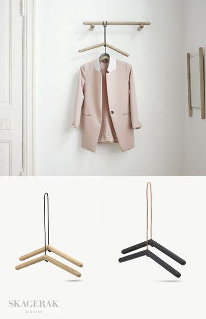Skagerak | Georg - hangers | oak w/ black leather and black painted oak w/ brown leather | b 45 x d 3 x h 11 | design by Chris L. Halstrøm