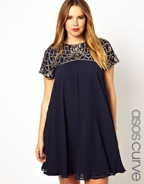ASOS CURVE Exclusive Swing Dress With Beaded Neck