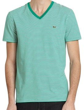 Lacoste Mens Heritage Striped T Shirt Green #lacoste #tee #shirt #sale