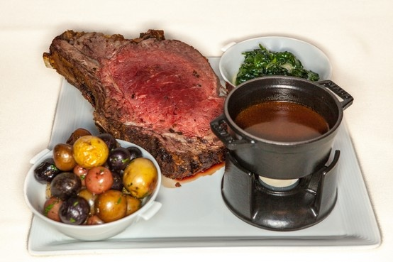 Split roasted prime rib of beef, pee wee potatoes, creamed greens, au jus. Served nightly at Prospect at The #Hotel Jerome in #Aspen #Colorado