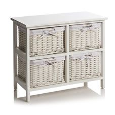 Perfect  Wicker Basket Storage Unit Five Drawer Bedroom Bathroom Wooden Gingham
