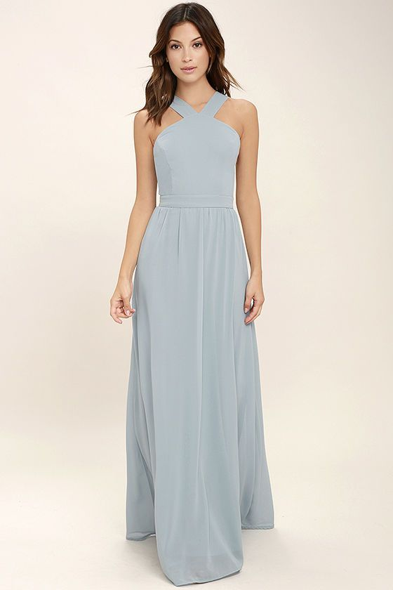 More romantic than a candlelit dinner or a trip to the Eiffel Tower, the Air of Romance Light Blue Maxi Dress will have you feeling the love! Lightweight Georgette falls from a modified halter neckline, into a seamed bodice supported by semi-sheer shoulder straps. A sweeping skirt cascades from a banded waist completing this elegant maxi dress. Hidden zipper with clasp.
