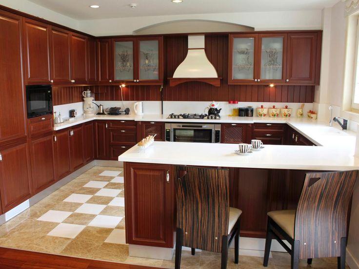 U Shaped Kitchen Layout With Inexpensive Kitchen Flooring Ideas Part 82