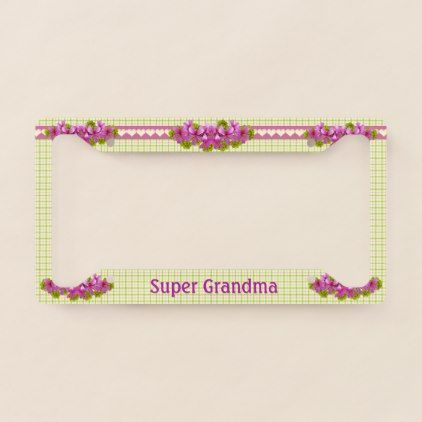 #Super Grandma Vintage Plaid Custom License Plate Frame - #giftidea #giftideas #gifts for #grandpa & #grandma #grandparents
