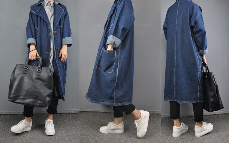 秋新入荷★トレンチコート デニムジャケットロング デニムコートロング大きいサイズ/ゆったりシルエット体型カバー 2色