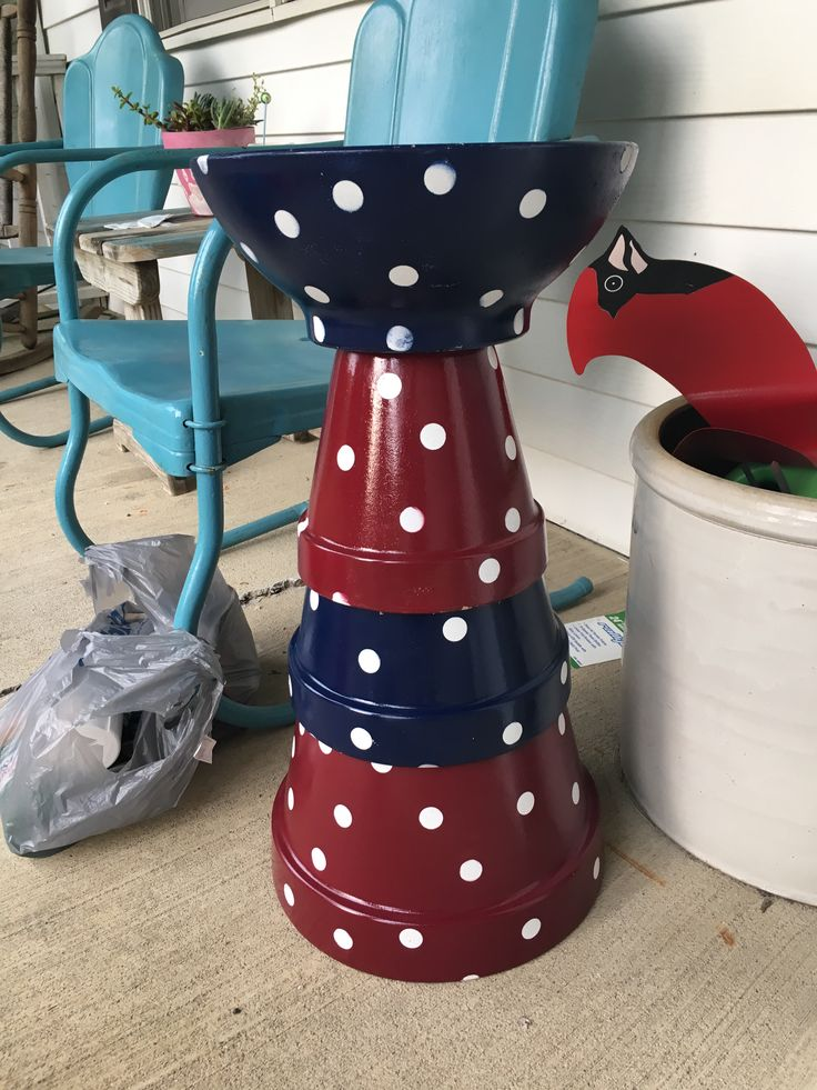 Mother's Day project. New bird bath. Made from terra cotta pots, round circles…