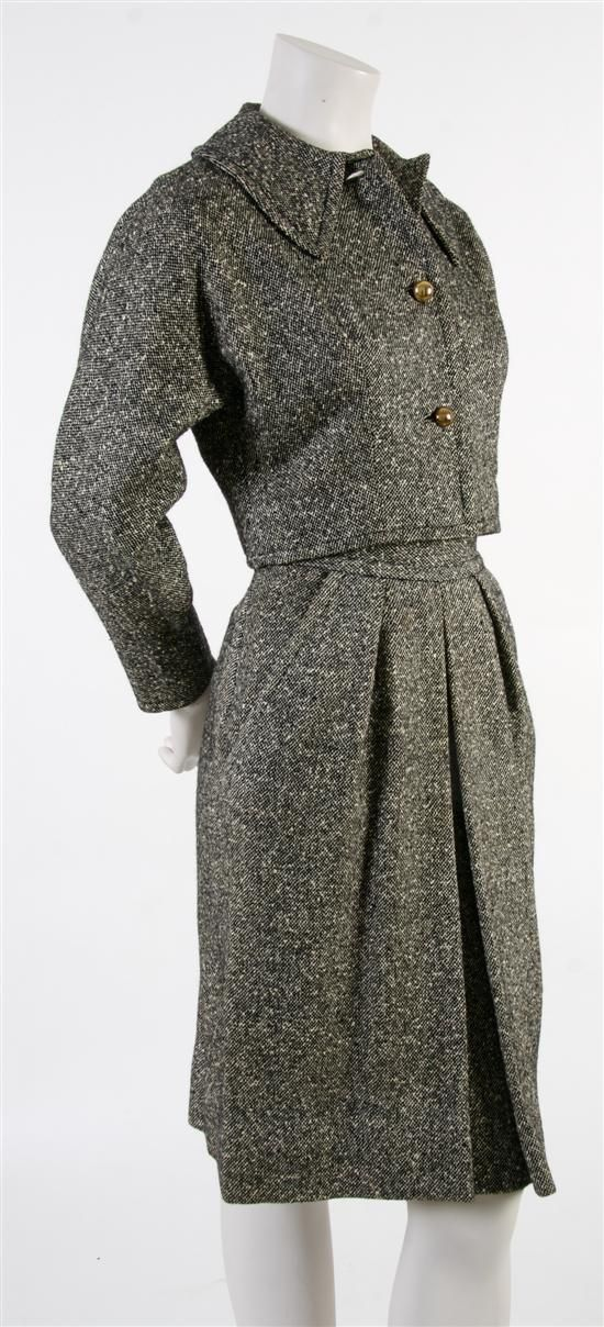 A Claire McCardell Donegal Tweed Skirt Suit,   1940s