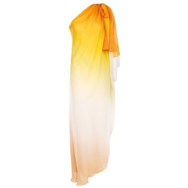 Temperley London Miracle Draped Dress ($1,000) ❤ liked on Polyvore featuring dresses, midi, orange, one shoulder cocktail dress, summer cocktail dresses, pink cocktail dress, pink ombre dress and one shoulder dresses