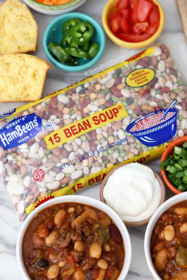 15 Bean Soup makes an amazing Soup or Chili!! This Slow Cooker Chili is hearty and delicious, making it the perfect food to fuel the crowd on game day! When serving a crowd, we put this chili on in the morning and then prepare a chili bar with toppings so our guests can help themselves!