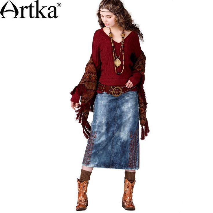 Юбка средней длины из джинсовой ткани с орнаментным узором по бокам