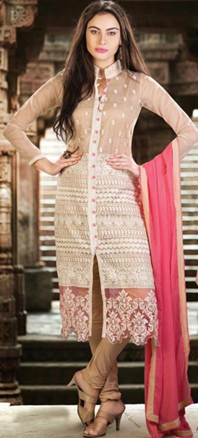 USD 152.74 Brown Faux Georgette Designer Salwar Suit 30559