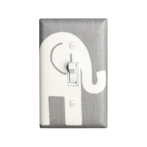 Elephant Nursery Decor Gray And White Light Switch Plate