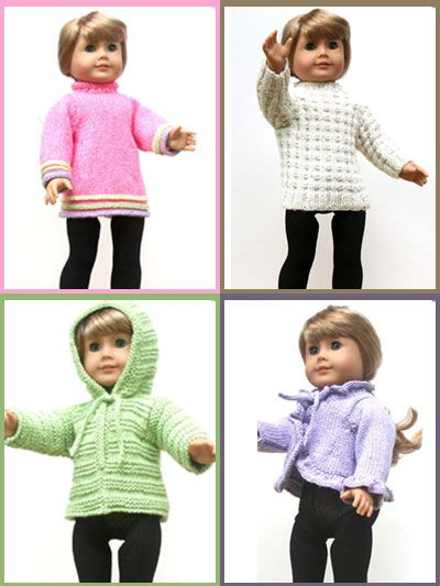 "18"" Doll Sweaters Collection OneKids Stuff, American Dolls, Girls Dolls, Dolls Clothing, Girls Knits, 18 Dolls Sweaters, Ag Dolls, Sweaters Collection, American Girls"