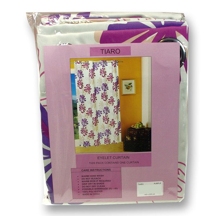 Tiaro Printed Eyelet Curtains Single