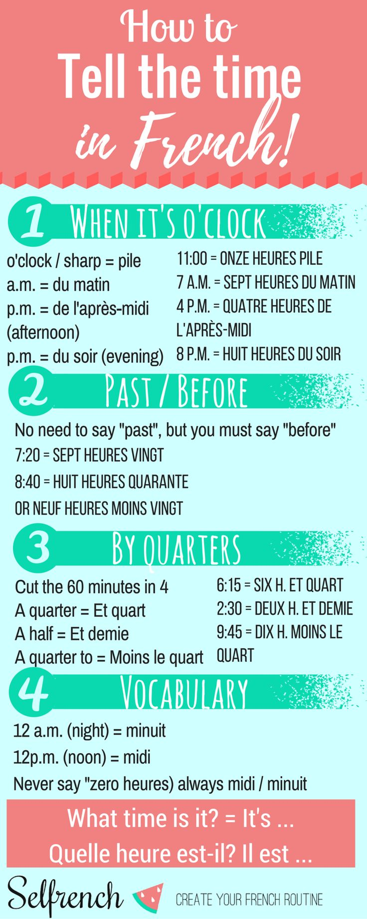 Infographic to learn how to tell the time in French                                                                                                                                                     More