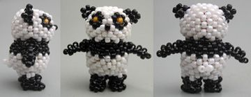 3D Panda   The 4th design in a series of cute peyote pets.  This panda is good for: - standing on a desk or shelf - giving to a child - wearing as a charm or pendant (with a loop on top) or as earrings - if made with tiny seed beads.  The instructions are step-by-step, detailed, and easy to understand. The panda is constructed over two big round beads (similar to the way beaded beads are made).