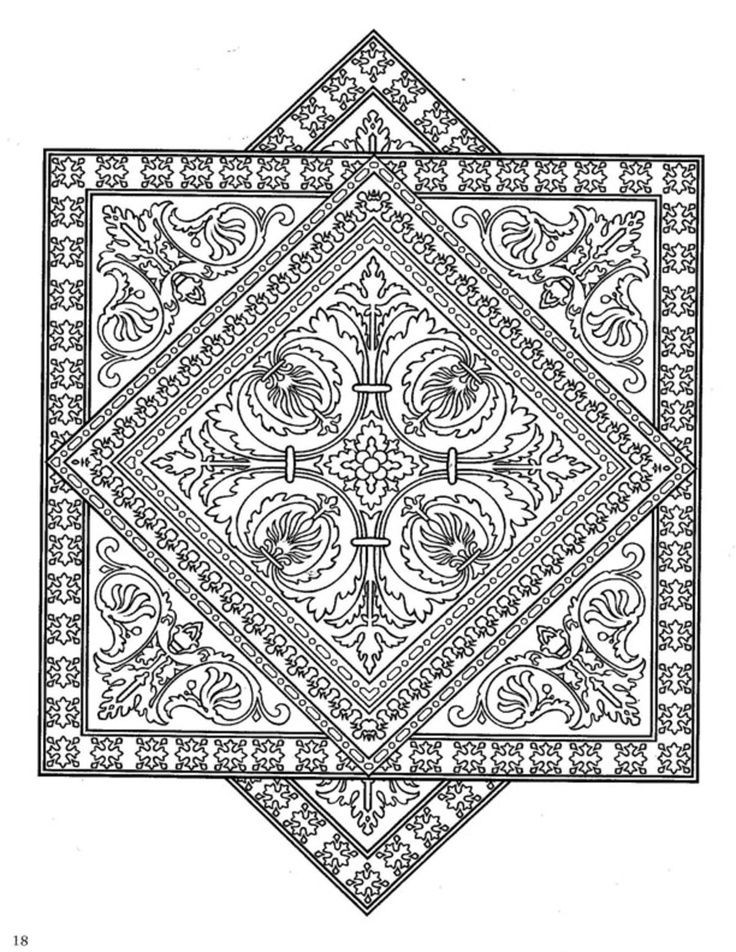 dover publications tiles mandala coloring page
