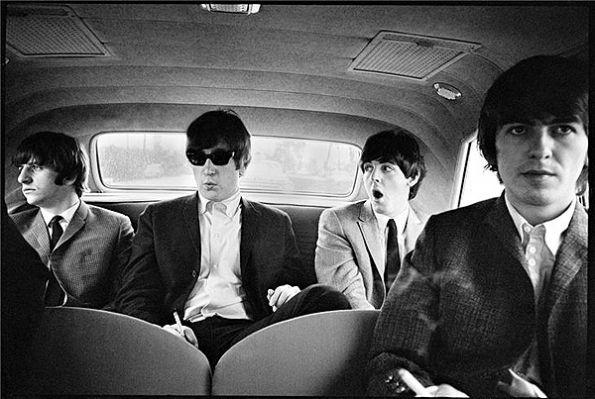 Ringo Starr, John Lennon, Paul McCartney and George Harrison go for a ride during their 1964 U.S. tour.