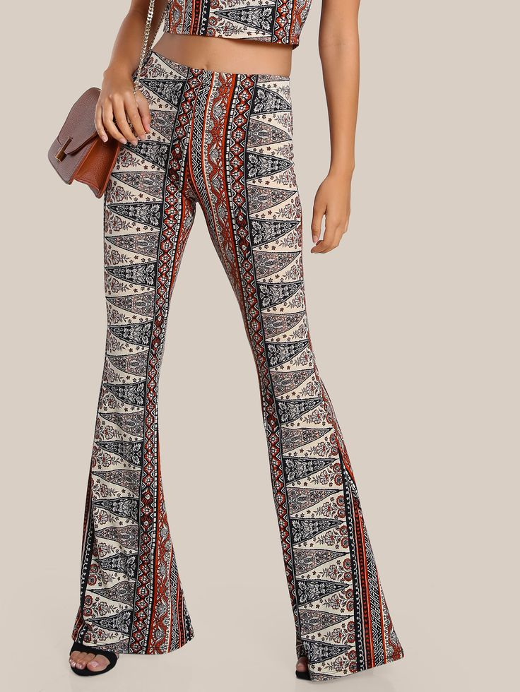 Shop Vintage Print Flare Leg Pants RUST online. SheIn offers Vintage Print Flare Leg Pants RUST & more to fit your fashionable needs.