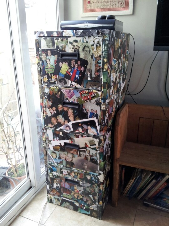 Old metal Filing cabinet upcycled, now covered in family photos !