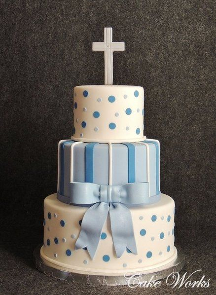 Baby Baptism in Blues Cake by cakeworks