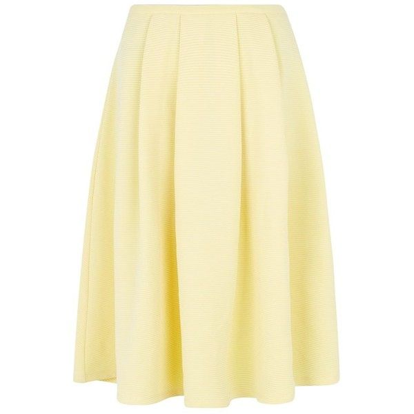 Yellow Ribbed Balloon Midi Skirt (230 EGP) ❤ liked on Polyvore featuring skirts, bottoms, yellow, beige skirt, yellow midi skirt, mid calf skirts, balloon skirt and yellow skirt