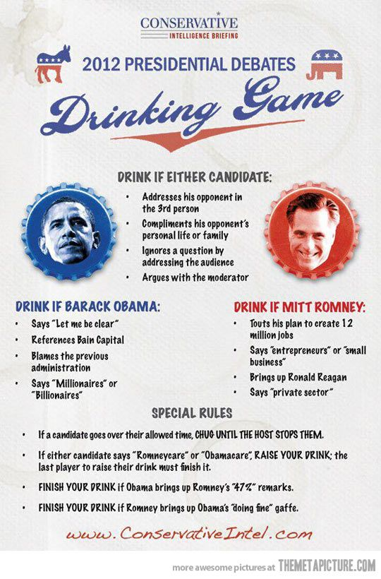 2012 Presidential Debates Drinking Game A must, I think we will change it some, but FUN since we all get together for each debate