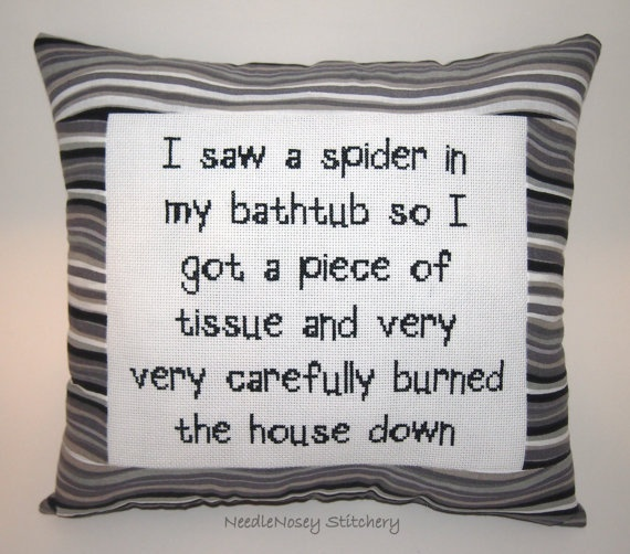 Funny Cross Stitch Pillow, Black Pillow, Decorative Pillow, Spider Quote