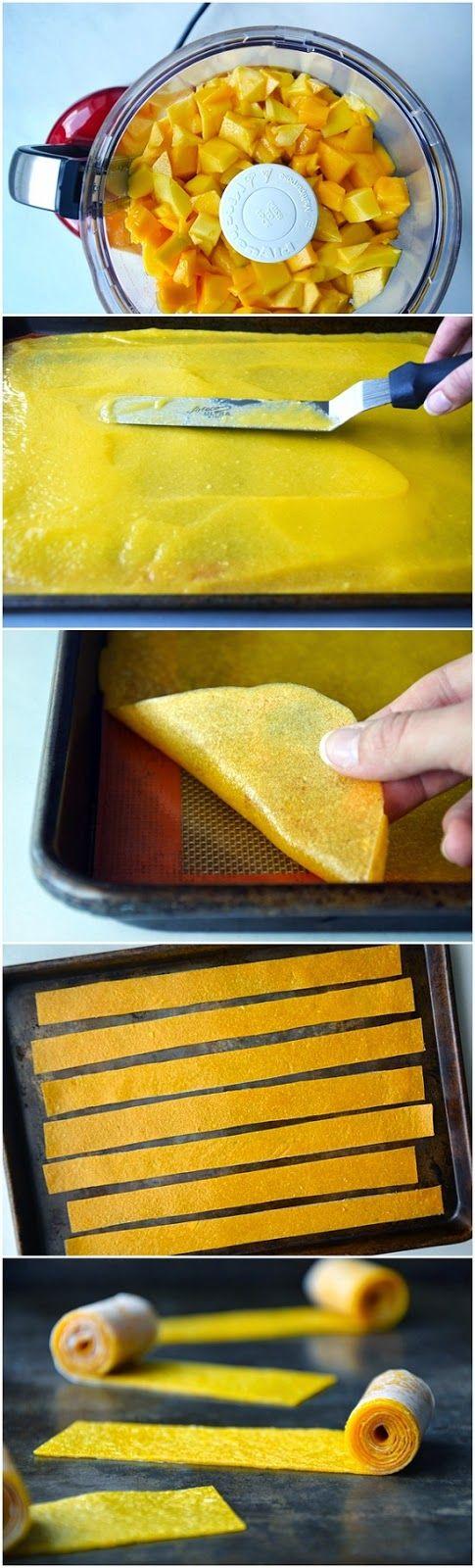 Healthy Homemade Mango Fruit Roll-Ups ~ firstyum
