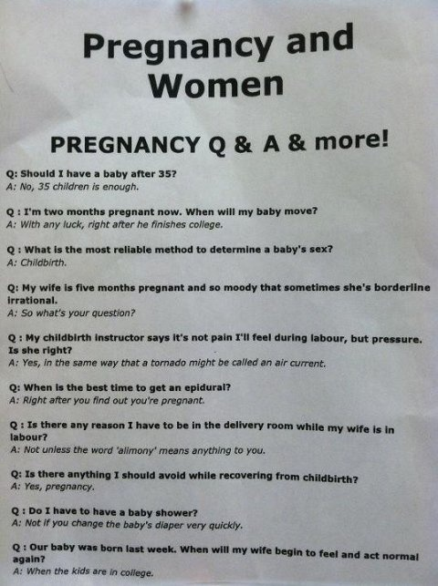 Funny. I especially chuckled at the epidural question.