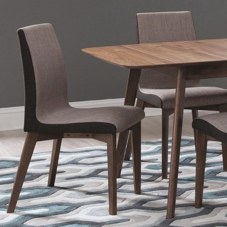 Mid-century Modern Design Grey Upholstered Dining Chairs (Set of 2) (Set of 2), Brown (Fabric)