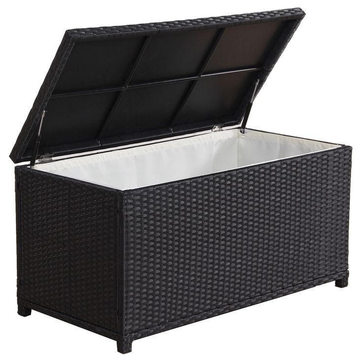 BroyerK Outdoor Black Wicker Cushion Storage Box (black), Patio Furniture  (Aluminum)