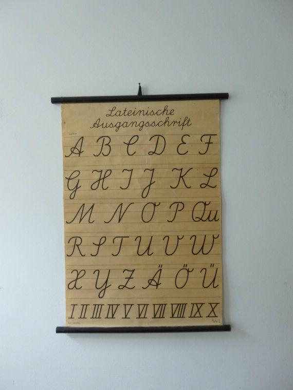 Vintage School Chart Latin Alphabet School Chart Latin