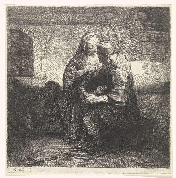 Bernard Picart | Pero zoogt de geketende Cimon in de gevangenis, Bernard Picart, 1683 - 1733 | Pero geeft haar vader Cimon de borst in zijn gevangeniscel (Caritas Romana). Het verhaal is een voorbeeld uit de klassieke literatuur van de liefde van kinderen voor hun ouders.