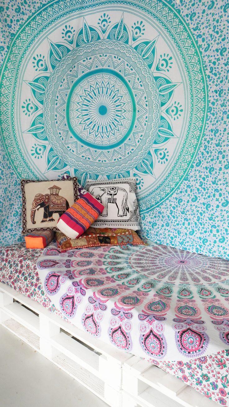 17 meilleures images propos de tissu mural mandala sur pinterest decor ethnique tentures. Black Bedroom Furniture Sets. Home Design Ideas