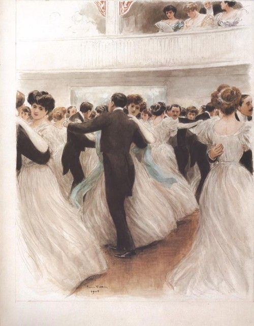A breathtaking painting of a Victorian waltz by Pierre Vidal, 1908.