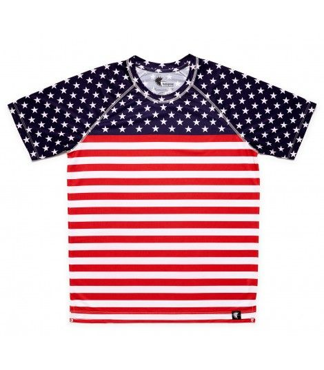 camiseta running hombre stars and stripes bandera EEUU Hoopoe Running Apparel