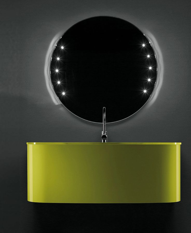 Artelinea's green bath vanity with modern round mirror / KImono Collection